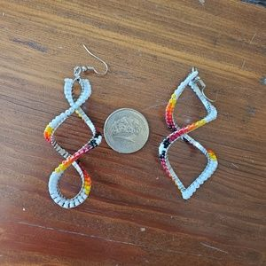 Native American hand beaded 4 direction color earr